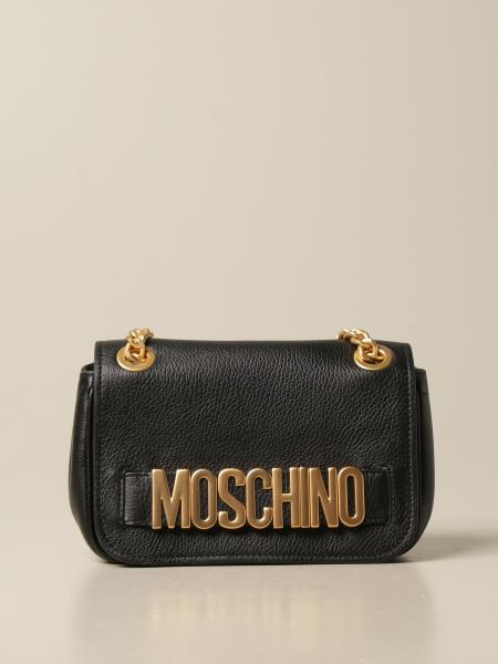 Moschino women: Moschino Couture leather bag with lettering logo