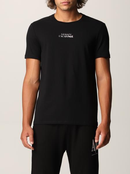 T-shirt Armani Exchange in jersey di cotone con logo a specchio