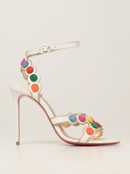 Christian Louboutin women: Smartissima Christian Louboutin leather sandals with colored buttons