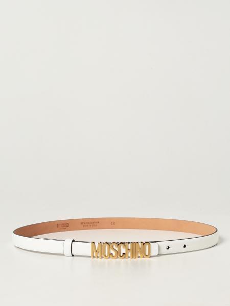 Cintura Moschino Couture in pelle con logo metallico