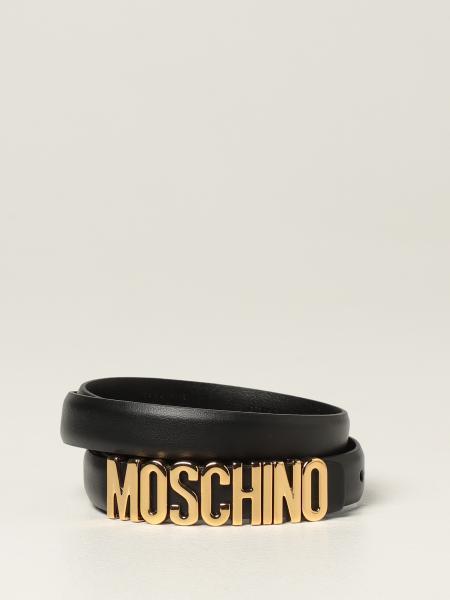 Moschino: Moschino Couture 金属色Logo皮革腰带