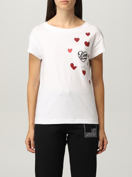 Love Moschino cotton t-shirt with glitter hearts