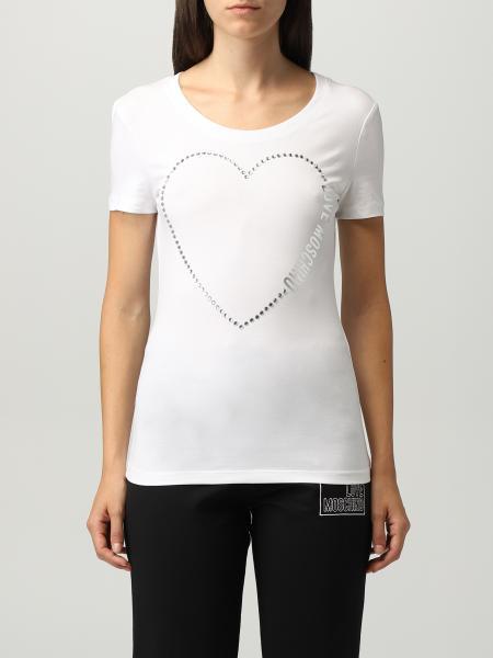 Love Moschino cotton T-shirt with rhinestone heart