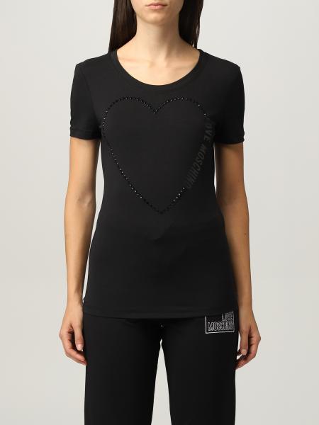 T-shirt Love Moschino in cotone con cuore di strass