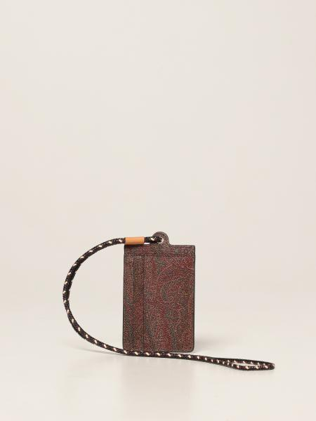 Etro: Etro credit card holder in jacquard paisley fabric