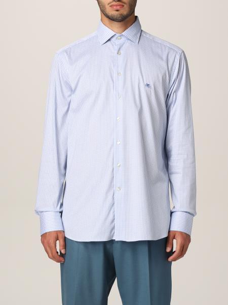 Etro men: Etro shirt in houndstooth cotton