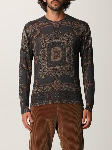 Etro men: Etro sweater in silk and cashmere with geometric pattern
