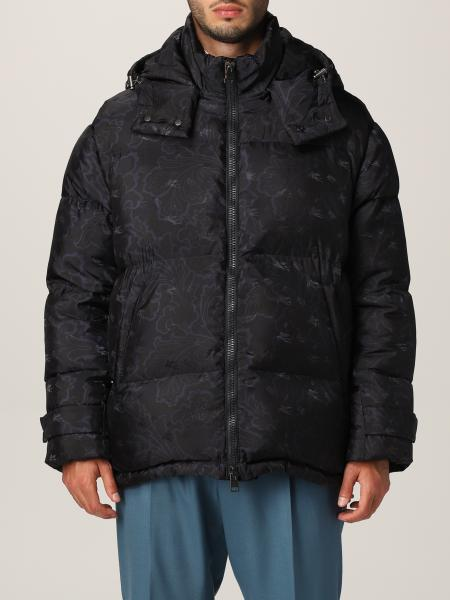 Etro nylon down jacket with paisley and floral print
