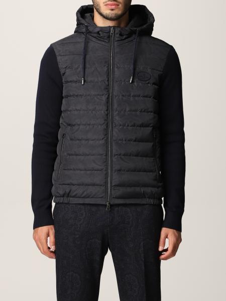 Etro men: Etro nylon jacket with paisley print and knit