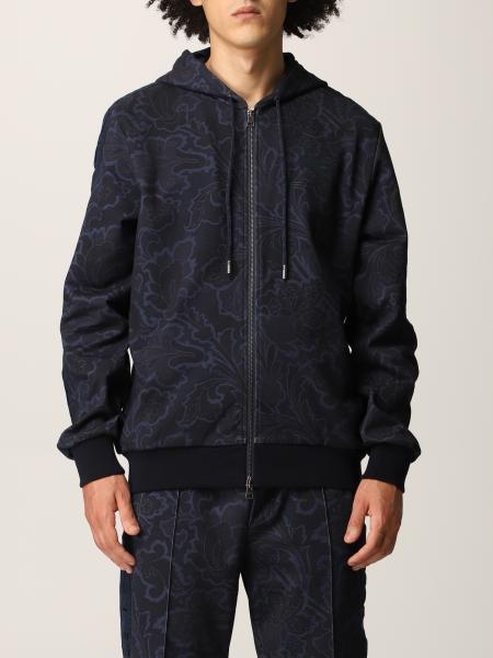 Etro men: Etro zip-up sweatshirt in cotton with Paisley motif