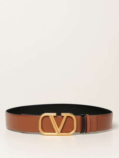 Valentino: Cintura reversibile Valentino Garavani in pelle con fibbia VLogo