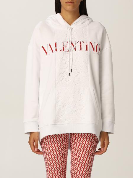 Valentino: Felpa Valentino in jersey di cotone e pizzo con logo