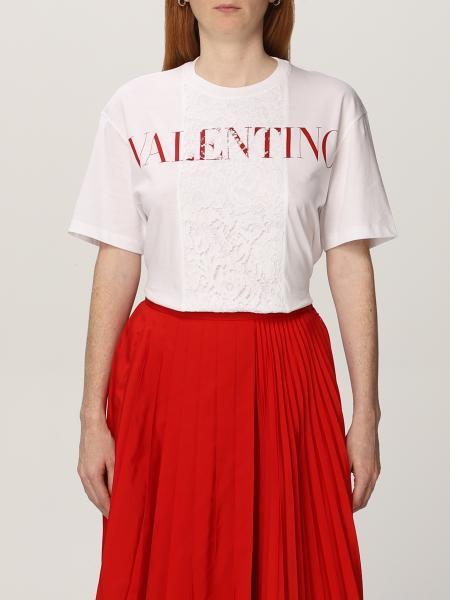 Valentino: T-shirt Valentino in cotone con logo e pizzo