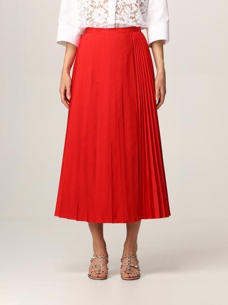 Valentino midi skirt in pleated cotton blend