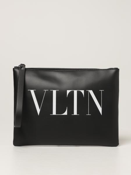 Pochette Valentino Garavani in pelle con logo VLTN