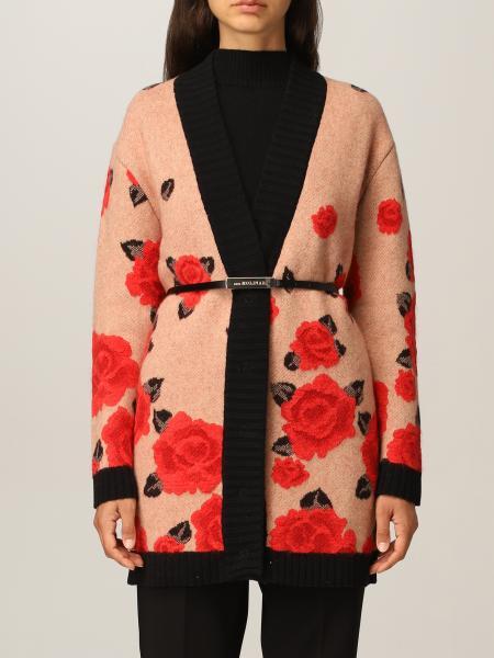 Cardigan jacquard rose con cintura