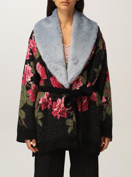 Giacca in maglia Blumarine con collo in pelliccia ecologica