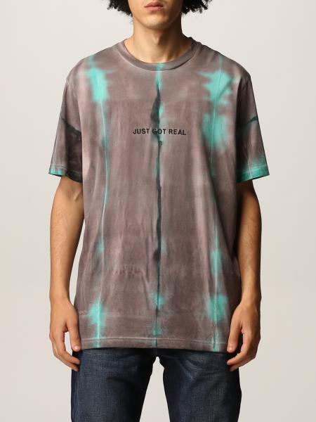 T-shirt Diesel in cotone tie-dye con effetto batik