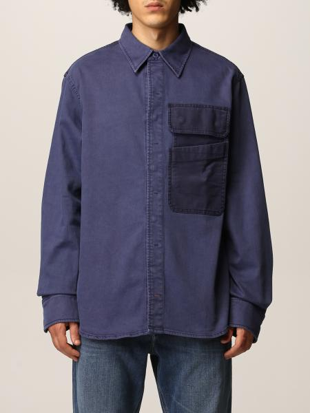 Diesel men: Cotton blend shirt with patch pockets