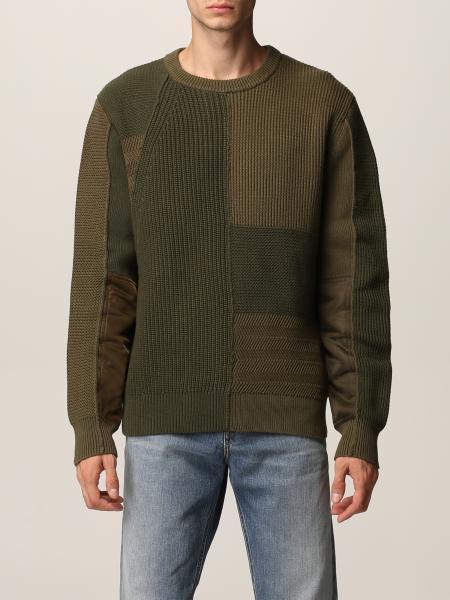 Diesel men: Textured knit patchwork Diesel pullover