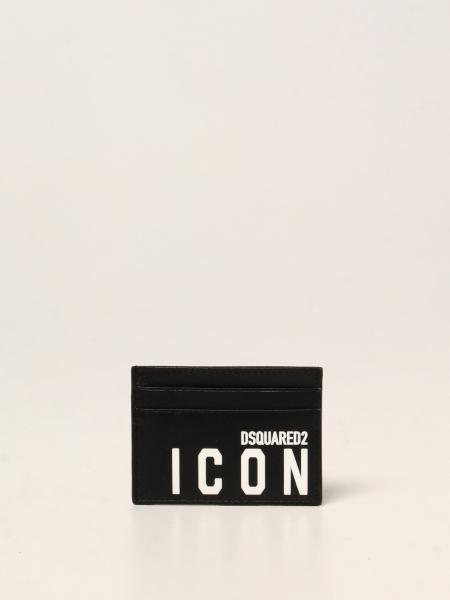Dsquared2 men: Dsquared2 credit card holder in leather with Icon logo