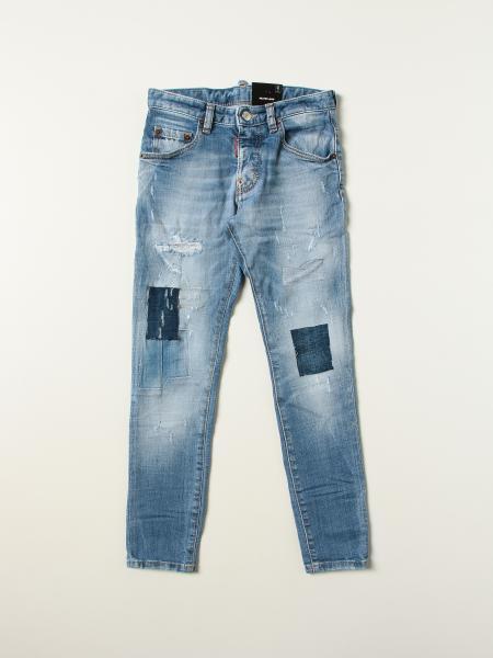 Jeans a 5 tasche Dsquared2 Junior con toppe