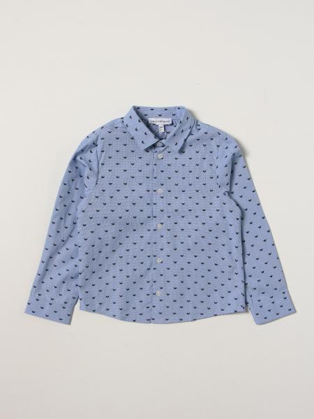 Camicia Emporio Armani in cotone con logo aquila all over