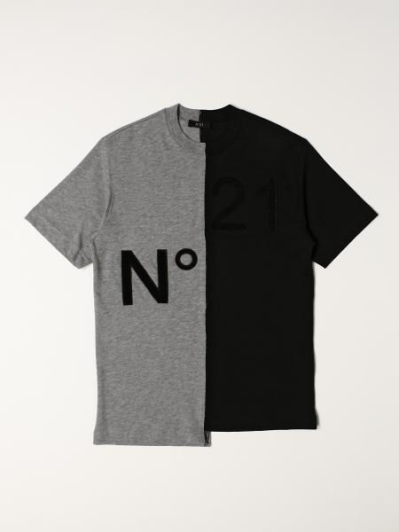 N° 21: Two-tone cotton blend N ° 21 T-shirt with logo