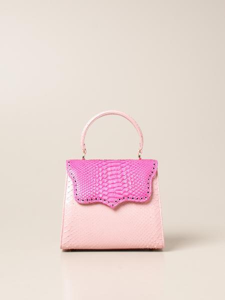 Borsa a tracolla Mini Pink Tarì Rural Design in pelle di pitone