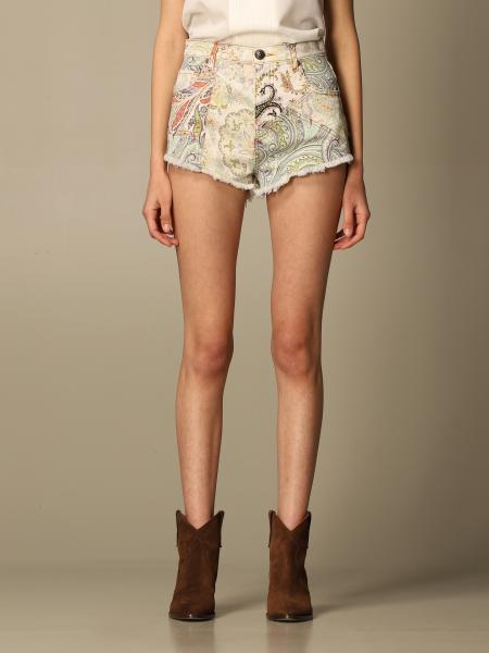 Etro women: Etro paisley patterned denim shorts