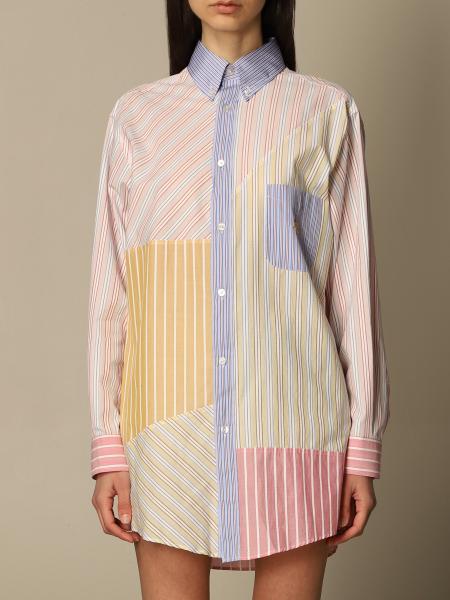 Etro women: Etro shirt in poplin with striped patchwork print