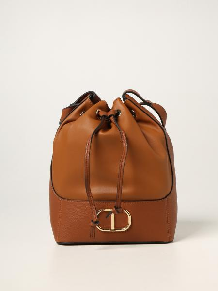 Twin-set bucket bag in synthetic leather with logo
