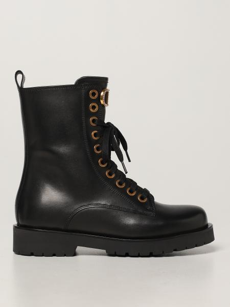 Twin-set combat boots in leather