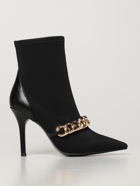 Twin-set ankle boots in fabric with chain