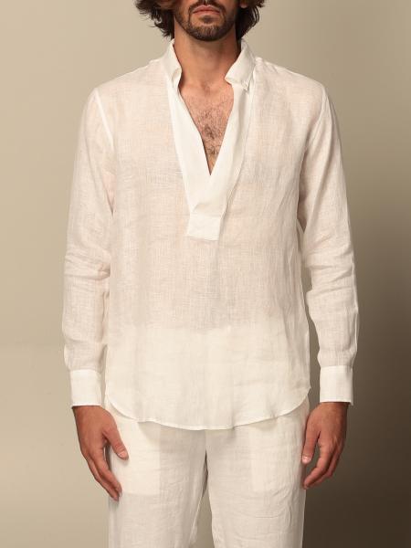 Grifoni v-shaped linen shirt