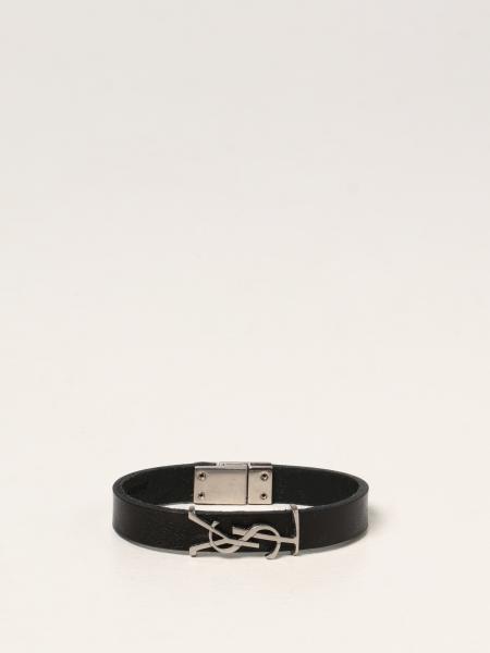 Saint Laurent men: Saint Laurent leather bracelet with YSL monogram