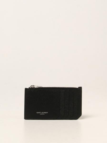 Saint Laurent men: Saint Laurent credit card holder in grain de poudre leather