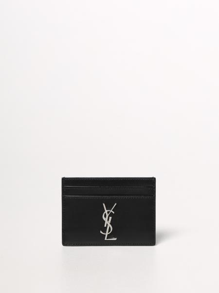 Saint Laurent men: YSL Saint Laurent card holder in leather
