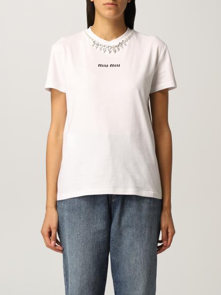 Miu Miu T-shirt with rhinestone crewneck