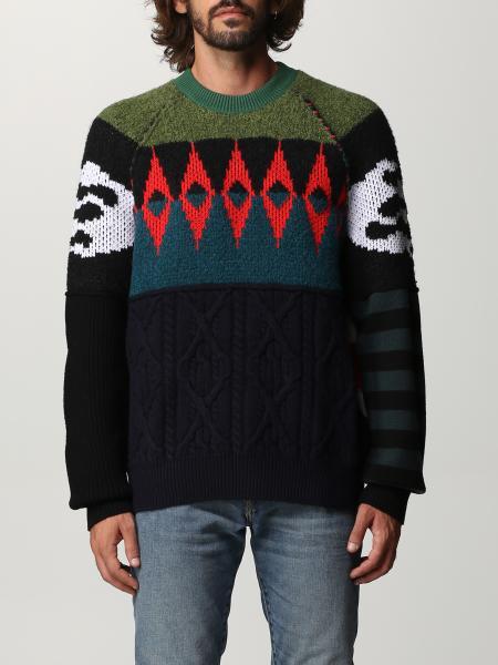 Diesel men: Diesel patchwork wool blend pullover
