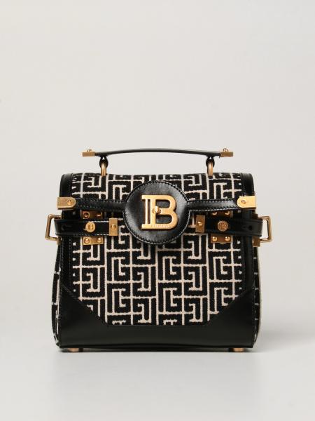 Balmain: B-Buzz 23 Balmain handbag in monogram fabric