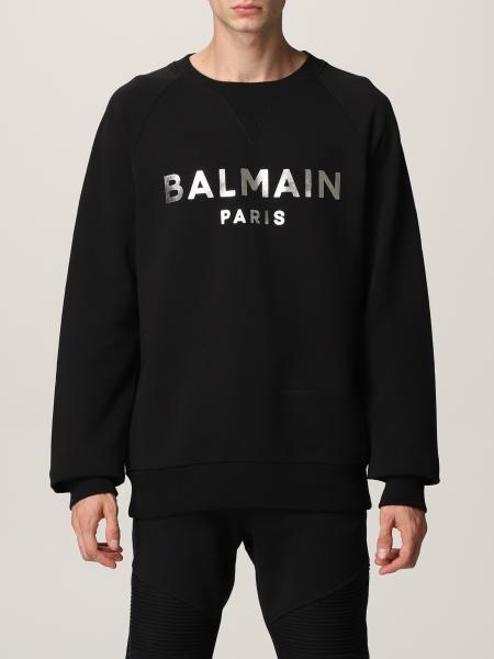 Felpa Balmain in cotone con logo laminato