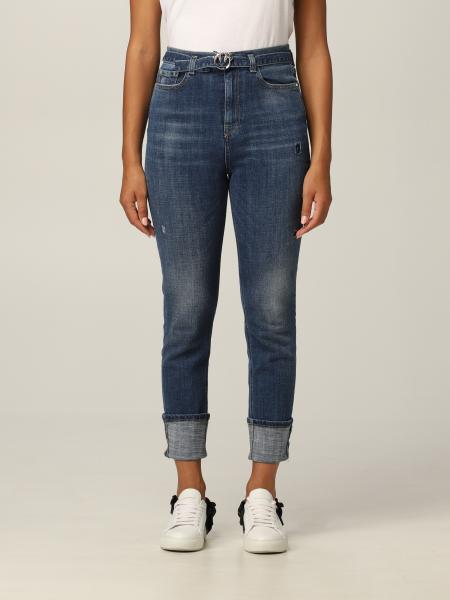Pinko 5-pocket jeans with belt and Love Birds buckle