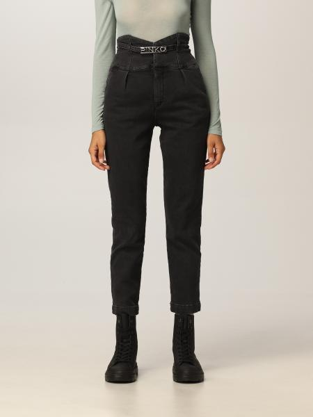 Pinko high-waisted chino jeans with logoed belt
