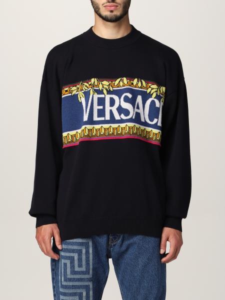 Versace men: Versace sweater in cotton and virgin wool