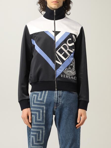 Versace men: Versace cotton sweatshirt with big logo