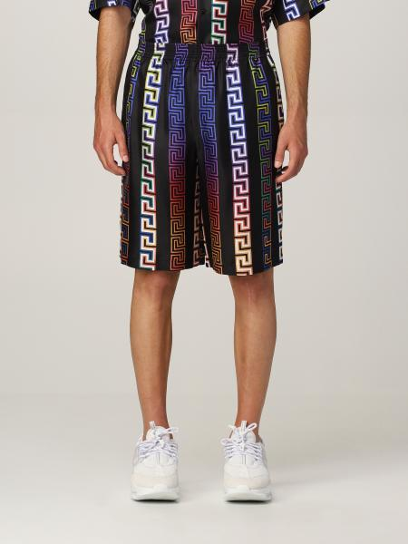 Versace men: Versace silk Bermuda shorts with neon Greca print
