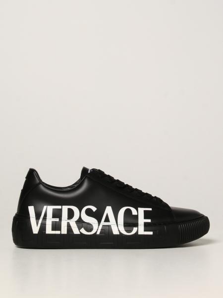 Versace uomo: Sneakers Greca Versace in pelle con logo