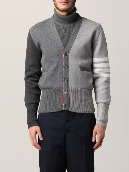 Cardigan lana bicolor con bande braccio