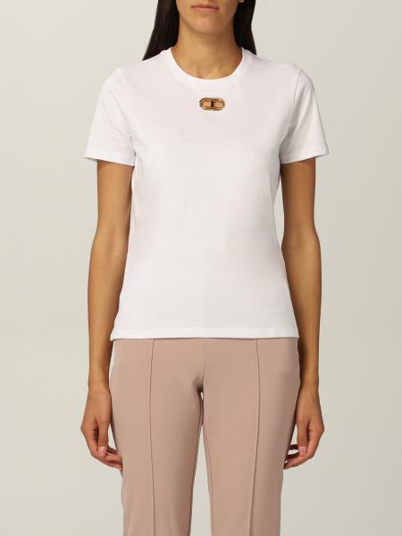 Elisabetta Franchi cotton T-shirt with metallic logo